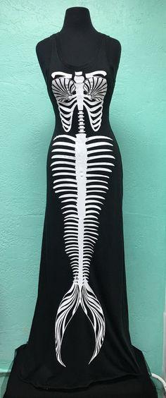 Black Mermaid Skeleton Long Maxi Dress by SantaCruzMermaidShop