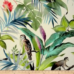 Screen printing on fabric window treatments 37 Super ideas Tropical Furniture, Tropical Home Decor, Tropical Interior, Tropical Houses, Tropical Party, Tropical Fabric, Tropical Colors, Tropical Pattern, Sewing Room Decor