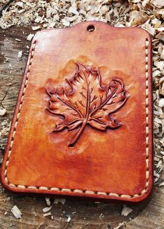 Maple Leaf Personalized Business Card Sleeve Badge Holder ID Case Awesome gift Canada day gift Detachable Badge Cruise ID Case Lanyard Leather Carving, Leather Art, Custom Leather, Leather Tooling, Leather Wallet, Sculpture Sur Cuir, Art Du Cuir, Leather Working Patterns, Wallet Pattern