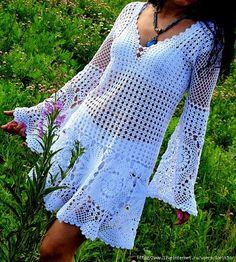 Crochetemoda: Vestido Branco de Crochet ~ Diagrams/Charts ~ Not in English Beau Crochet, Pull Crochet, Mode Crochet, Irish Crochet, Crochet Lace, Bolero Crochet, Crochet Tops, Crochet Skirts, Crochet Blouse