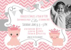Pig Princess First Birthday Party by AsYouWishCreations4u on Etsy, $14.00