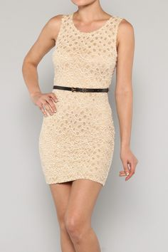 Fitted Ivory Dress with skinny belt