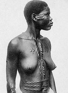 "Africa | Tribal Scarification. ca, early 1900s | Photographer and tribe unknown. | Image included in the ebook publication ""Vintage Tribal Body Art - A Photo Scrapbook"""