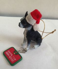 Boston Terrier Ornament Red Santa I've Been Good dangle Tag Christmas Dog Gift