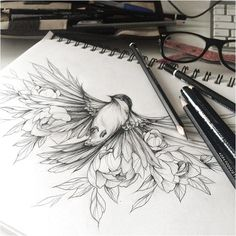 ▷ The best ideas for a bird tattoo and its meaning - ▷ Les meilleures idées pour un tatouage oiseau et sa signification cool-tattoo-birds-tattoo-ar - Tattoo Sketches, Tattoo Drawings, Art Sketches, Bird Drawings, Cool Drawings, Vogel Tattoo Hals, Fenix Tattoo, Bird Tattoo Neck, Colorful Bird Tattoos