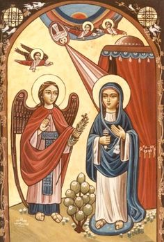 Annunciation, Coptic icon Religious Images, Religious Icons, Religious Art, Blessed Mother Mary, Blessed Virgin Mary, Jesus In The Temple, Religion Catolica, Jesus Is Lord, Orthodox Icons