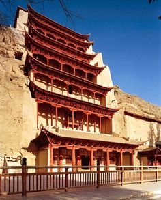 The dramatic nine-story entrance to cave 96 at the Mogao site, which contains the largest Buddha in the complex among other treasures.