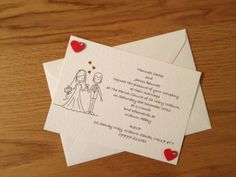 Handmade Personalised Wedding Invitations with Hearts & Diamantes