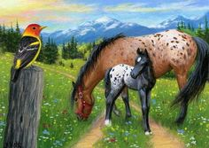 Mare-foal-horse-western-tanager-bird-mountain-landscape-original-aceo-painting --- Winning bid: US $83.22 Approximately AU $105.80