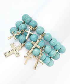 This Turquoise Beaded Stretch Bracelet is perfect! #zulilyfinds