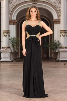 Capture the red carpet glamour of the Oscars 2015 style of Hannah Bagshawe with the Amandus black and gold evening gown.