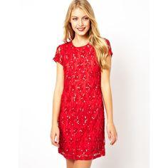 ASOS Embellished Shift Dress found on Polyvore
