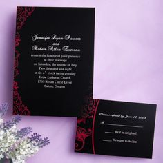 Classic black and red wedding invitations EWI034  