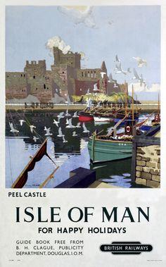 'Peel Castle, Isle of Man', BR poster, 1949.