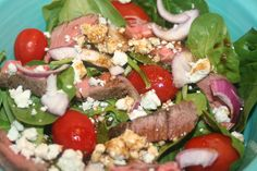great way to get the taste of steak without all the fat. Use just a little of leftover steak to make this steak and blue cheese salad