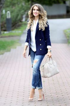 White shirt, navy blue blazer, distressed boyfriend jeans, Christian Louboutin pointed nude heels, nude Givenchy Antigona bag