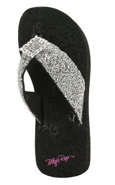 5665bccdb1e92 M F Blazin Roxx Hannah Black w Silver Beaded Flip Flop Sandals Bling Flip  Flops