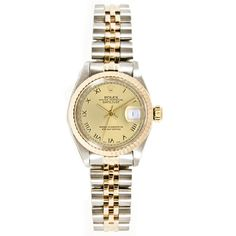 Refurbished Women's Pre-owned Rolex Stainless Steel & 18K Gold Jubilee Bracelet, Gold Fluted Bezel & Roman Dial
