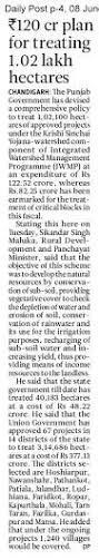 Rs 120 crore Plan for Treating 1.02 Lac Hectares #WeSupportSAD #ShiromaniAkalidal