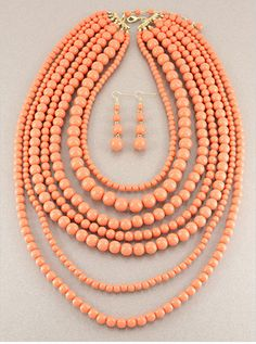CHUNKY STATEMENT PEACH CORAL ORANGE MULTI  STRAND ROW PEARL BEAD NECKLACE SET