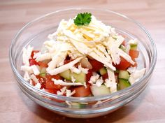 Sopszka saláta recept Starters, Cobb Salad, Feta, Cabbage, Bacon, Food And Drink, Cheese, Dishes, Vegetables