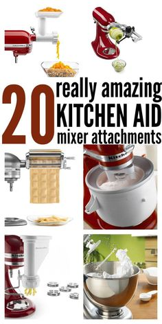 20 Amazing Kitchen Aid Mixer Attachments is part of Kitchen aid mixer recipes I am a kitchen gadget hog really In my hunt for things that make life easier I have found a couple gadgets that hav - Kitchen Aid Recipes, Kitchen Hacks, Kitchen Gadgets, Kitchen Ideas, Kitchen Tools, Kitchen Appliances, Small Appliances, Kitchen Pantry, Kitchen Utensils