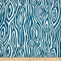 Blue Woodgrain Fabric - Premier Prints Willow Aquarius Blue Fabric - Fabric by the 1/2 yard