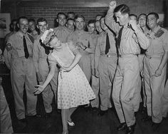 Betty Hutton jivin' with the soldiers at the Canteen during WWII.