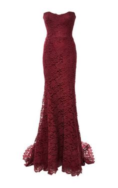Renowned for her eye-catching bridal and ready-to-wear collections, the Philippines-born purveyor of special occasion chic didn't disappoint with Pre-Fall 2015. This **Monique Lhuillier** gown exudes a sleek elegance in bordeaux lace.