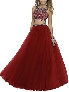 YSK Women's 2016 Two Piece Beaded Prom Dresses Sequined Bodice Long Evening Gowns: Amazon.co.uk: Clothing