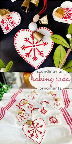 Scandinavian Painted Baking Soda Heart Ornaments. Use THREE simple kitchen ingredients to make adorable holiday ornaments and paint them with your kids! Letter Ornaments, House Ornaments, Painted Ornaments, Heart Ornament, Handmade Christmas Tree, Handmade Ornaments, Diy Christmas Ornaments, Christmas Ideas, Christmas 2016