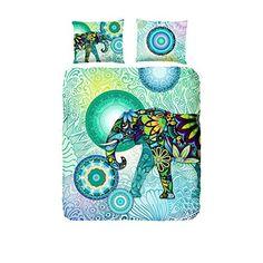 Hip 4943-H, 135cm Explorer bettwäsche mit ein Elefant und blauen / grünen Figuren, 100 Prozent Baumwolle /…