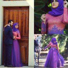 Vintage A line Wedding Dress 2015 Long Sleeves Purple Pink Appliques Lace Vestido Arab Muslim Party Dress Women Bride Gowns Arabic2015 Fall Winter