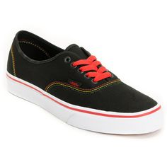 3dda27b317 Vans Authentic Black Rasta Shoe ( 45) ❤ liked on Polyvore Vans Authentic  Black