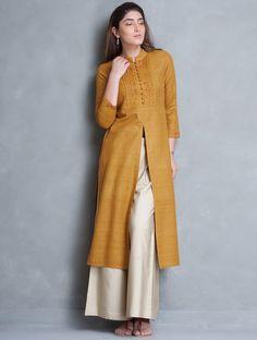 Buy Mustard Mandarin Collar Thread Embroidered Matka Silk Kurta Online at Jaypore.com