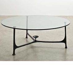 André Arbus; Glass and Patinated Bronze Coffee Table, c1950.