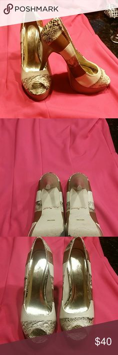 Snakeskin Patchwork Peep Toe Heels In superb great condition. Different snakeskin patterns and different color leather patches throughout. Anne Michelle Shoes Heels