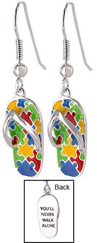 Never Walk Alone Puzzle Piece Flip Flop Silver-Plated Earrings~ Every Purchase Funds Research and Therapy to Help Children with Autism.