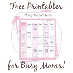 Free Printables for Busy Moms