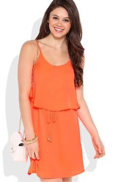 Deb Shops A-Line Dress with Ruffle Front and Drawstring Waist $35.00