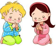 Cute children kneeling and praying