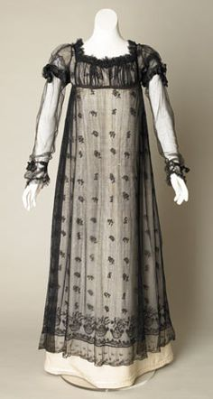Evening dress of silk net, c. 1817-1820. Reproduction silk under-dress.  Sudley House Costume Collection.