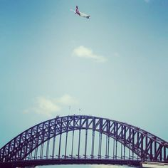 #qantasa380 flying over the Sydney Harbour Bridge during yesterday's festivities. Can't get more iconic than that. #sydneysummer #straya #australia #australiaday2016 #qantas #flyingkangaroo #coathanger #sydneyharbourbridge #sydneyharbour #nswgetaways #exploreaustralia #seeaustralia #lonelyplanet by kamelionstudios http://ift.tt/1NRMbNv