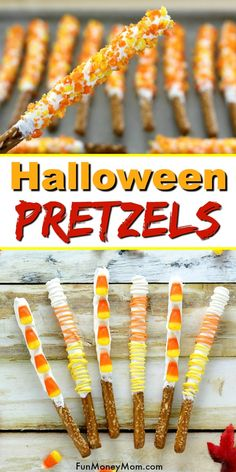 Candy Corn Pretzels Three Ways Halloween Treats - These Halloween treats make the perfect Halloween party treats. You can never go wrong with Candy Corn treats and these yummy chocolate pretzels are both colorful AND delish! Halloween Desserts, Disney's Halloween Treat, Halloween Class Party, Halloween School Treats, Halloween Treats For Kids, Holiday Treats, Fall Halloween, Preschool Halloween Party, Halloween Themed Food