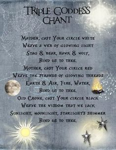 Book of Shadows: Triple Goddess Chant page. - Pinned by The Mystic's Emporium on Etsy Wiccan Spell Book, Wiccan Witch, Magick Spells, Wicca Witchcraft, Witch Spell, Wiccan Art, Wiccan Crafts, Wiccan Rede, Healing Spells