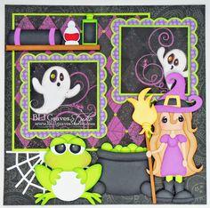 Cute Witch Halloween Scrapbook Layout - BLJ Graves Studio