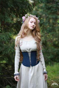 """Boned Corset """"Secret Garden"""" for sale :: by medieval store ArmStreet Medieval Dress, Medieval Clothing, Mode Lolita, Boned Corsets, Garden Dress, Corset Belt, Blue Corset, Fantasy Dress, Mode Vintage"""