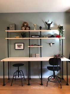 Well hello to you too 👋👋 👋👋 Beautiful office space solutions 🙌 -Sleek☑️ -Modern Industrial Flare ☑️ -Storage space ☑️ -His and hers ☑️… Industrial Office Space, Modern Industrial, Decoration Ikea, Paint Colors For Living Room, Home Office Design, House Rooms, Boy Room, Storage Spaces, Sweet Home