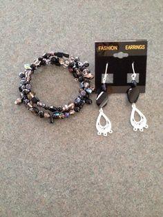 Memory wire bracelet and matching nickel free earrings