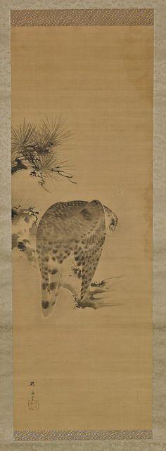 Antique Japanese Silk Scroll: Falcon on Pine